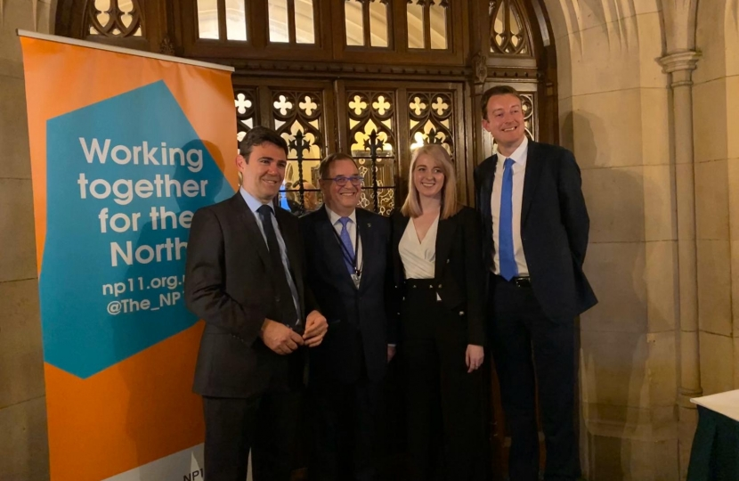 Dehenna Davison MP with Chair of the NP11, Mayor of Manchester Andy Burnham and Local Government Minister Simon Clarke